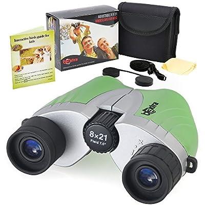 B3xtra Binoculars for Kids 8x21 Kids Binoculars Outdoor Set, High Resolution Telescope for Kids, Shockproof Child Binoculars with Real Optics for Bird Watching and Camping, Present for Boys, Girls