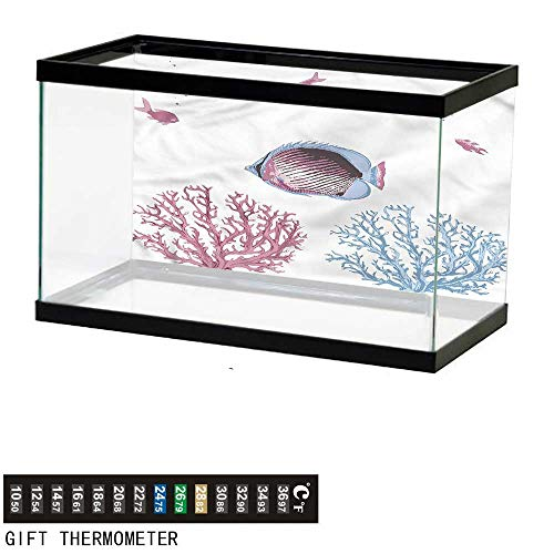 bybyhome Fish Tank Backdrop Coral,Tropical Fish and Sea Plants,Aquarium Background,36