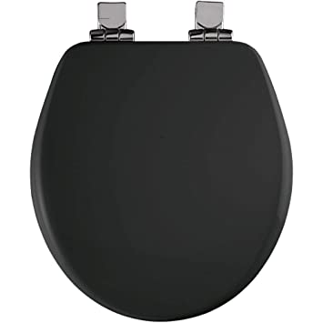 Bemis 7B9170CHSL 047 Round Closed Front High Density Molded Wood Toilet Seat  With Cover, Black