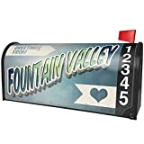 NEONBLOND Greetings from Fountain Valley, Vintage Postcard Magnetic Mailbox Cover Custom Numbers