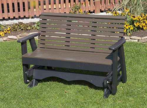 4FT-WEATHERED WOOD-POLY LUMBER ROLL BACK Porch GLIDER Heavy Duty EVERLASTING PolyTuf HDPE - MADE IN USA - AMISH ()