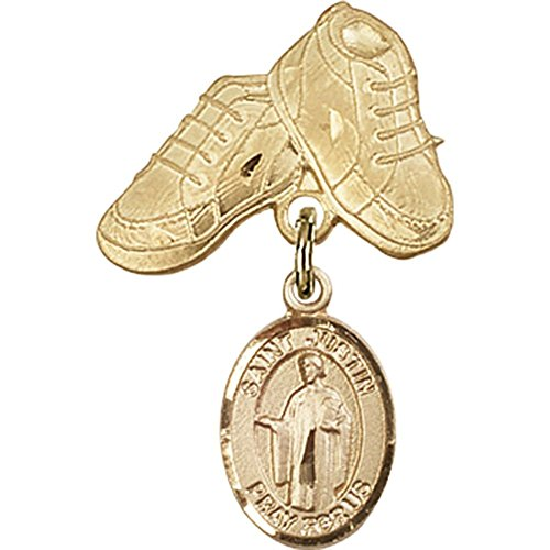 14kt Yellow Gold Baby Badge with St. Justin Charm and Baby Boots Pin 1 X 5/8 inches by Unknown