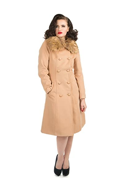1950s Jackets, Coats, Bolero | Swing, Pin Up, Rockabilly Hearts & Roses Chrissette Coat in Camel (Shipped from The US US Sizes) $64.88 AT vintagedancer.com
