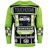 FOCO NFL Seattle Seahawks Ugly Light Up Crew Neck Sweater, Team Color, Small