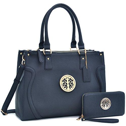 dasein-womens-briefcase-satchel-handbag-office-work-bag-shoulder-bag-with-matching-wallet-black