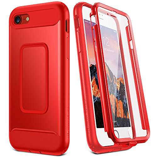 (YOUMAKER Case for iPhone 8 & iPhone 7, Full Body with Built-in Screen Protector Heavy Duty Protection Shockproof Slim Fit Cover for Apple iPhone 8 (2017) / iPhone 7 (2016) 4.7 Inch - Red)