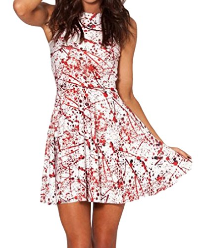 Bloody Dress (Coolred Womens Funky Midi Wild Bloody Digital Print Dress Pullover As Picture OS)