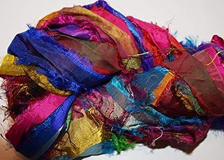 100 gr Sari Chiffon Blend2 multi craft ribbon yarn jewelry making