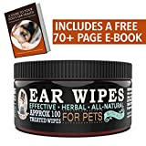 "Mister Ben's Original XXL Treated Ear Cleaner Wipes w/Aloe for Dogs, Cats Small Pets - Most effective wipes soothe & clean odors, itching, and irritations - Approx 100 extra large 3"" Pads"