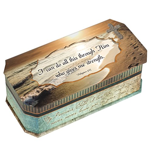 Philippians 4:13 Religious I Can Do All This Through Him Who Gives Me Strength Footprints in the Sand Jewelry Music Musical Box (Plays Amazing Grace)
