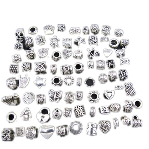 WM KING Antique Silver Plated Oxidized Metal Beads Charms Set Mix Lot - Compatible with Pandora Biagi Troll Chamilia Bracelets w/