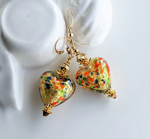 Murano Heart Earrings Multicolored Gold by H&H Jewelry Designs