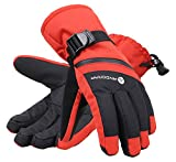 Andorra Men's Cross Country Textured Touchscreen Ski Glove with Zippered,Red,L