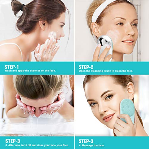 Sonic Facial Cleansing Brush by GINEKOO - Soft Silicone Waterproof Face Cleaner with 8 Adjustable Speeds and Heated Massage for Skin Exfoliation, Deep Cleansing & Open Pores and Promote the Introduction of Essence