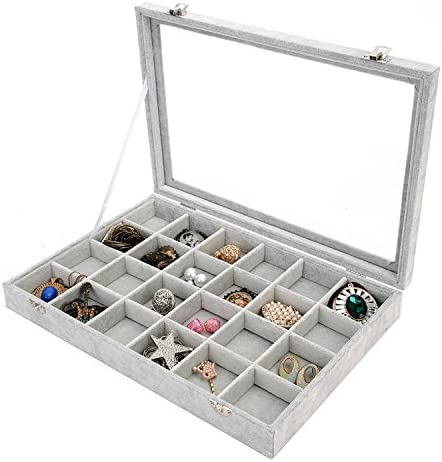 Display Box Holder Earring Velvet Organizer Show Storage Tray Ring Jewelry Case