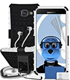 Samsung Galaxy A5 (2016) SM-A510F White Shock Proof Rugged Hard Case with Viewing Stand - LCD Screen Protector - Retractable Mini Stylus Pen - 3.5mm ZIPPER Stereo Hands Free HeadPhones with Mic