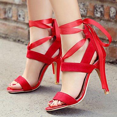 Sandalias Primavera Verano Otoño comodidad PU Parte & vestido de noche casual Stiletto talón Lace-up negro azul rojo púrpura Red