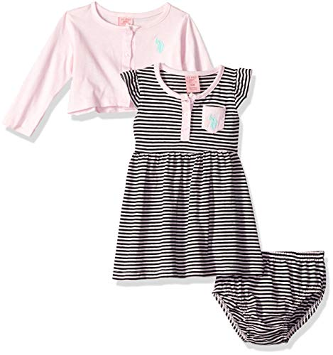 U.S. Polo Assn. Girls Dress with Sweater Jacket, Striped Flutter Sleeve Baby Pink, 12M ()