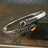 Tiger Eye Bangle for Women Mom Wife 925 Silver