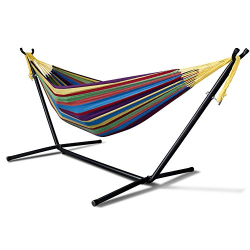 Foutou Double Hammock With Steel Stand Patio Yard and Beach Outdoor Portable Carrying Case Space Saving