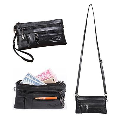 Small Genuine Leather Crossbody Purse for Women Handbags Multi Pocket Bag Cellphone Wristlet Wallet Clutch Organizer Satchel Pouch with Shoulder Strap Katloo