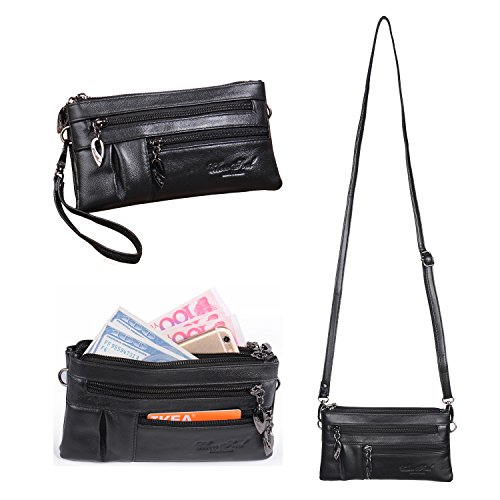 Wallet Katloo Body Bag Mini Purse 2 Handbag Bag Clutch Cross for Straps with Faux Girls Shoulder Bag Leather Phone Wristlet Small Black Ladies Women rxwqr46C