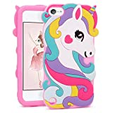 Image of FunTeens Vivid Unicorn Case for Apple iPod Touch 6th 5th Generation 3D Cartoon Animal Cute Soft Silicone Rubber Protective Cover,Animated Stylish Cool Skin Shell for Kids Child Teens Girl(Touch 6/5th)