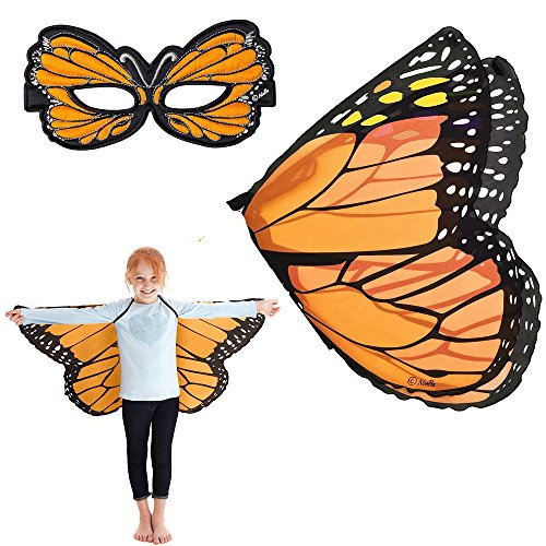 [Douglas Cuddle Orange Monarch Butterfly Wings and Mask Bundle Set] (Orange Adult Butterfly Costumes)
