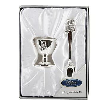 47b32700c65f Figurines-Gifts UK - 6305NT - Cadeau Baptême - Set Coquetier et Cuillère  Petit Ours