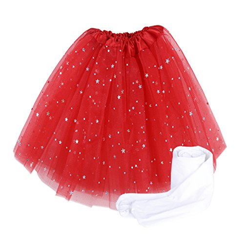 Dreams Come True Dance Costumes (HDE Girls Tutu Skirt with Kids White Stockings Tights Dance Princess Ballerina (Energizing Red, Small 4-6))