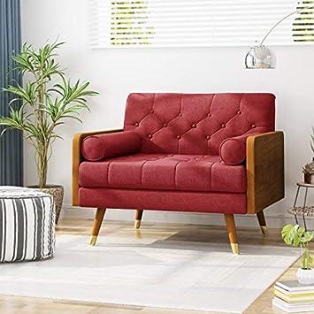 Magnificent Christopher Knight Home Greta Mid Century Modern Fabric Club Chair Red Dark Walnut Beatyapartments Chair Design Images Beatyapartmentscom