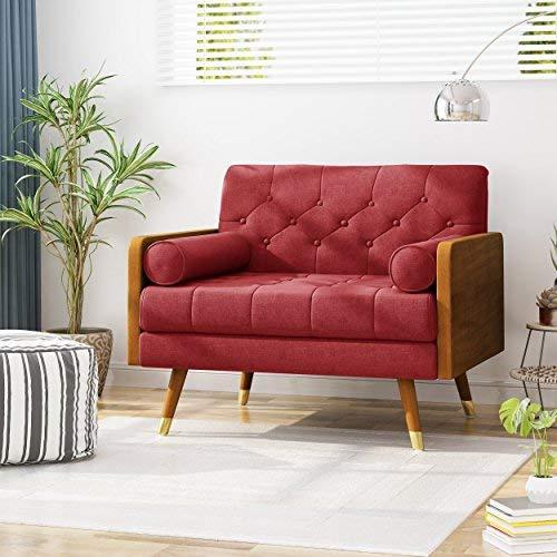 Christopher Knight Home Greta Mid Century Modern Fabric Club Chair, Red, Dark Walnut (Chair Red Modern)