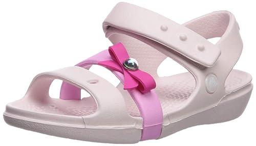 ee0007eb801de Crocs Girls' Keeley Charm Sandal Mary Jane Flat, Barely Pink, 4 M US