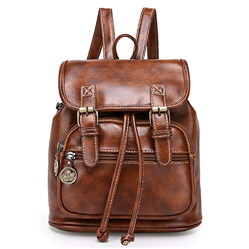 Women Mini Backpack Purse Fashion Retro PU Leather Rucksack Lightweight Casual Travel Shoulder Bag