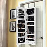 Lifewit Lockable Full Length Mirrored Jewelry Cabinet, Wall Door Mounted Bedroom Armoire, Makeup Organizer with LED Light, White