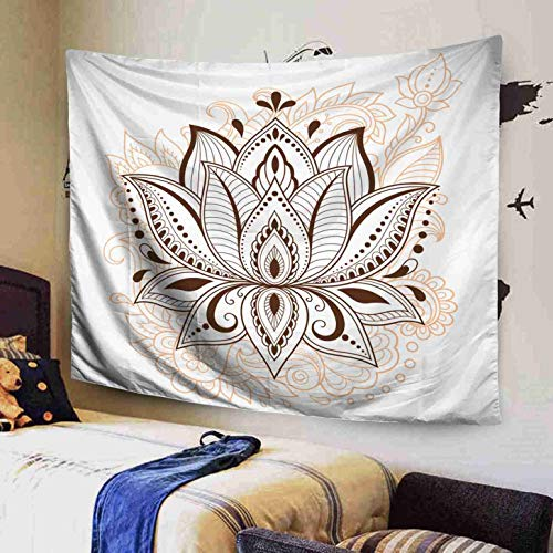 GROOTEY Wall Hanging Tapestry Polyester 60x50 Lotus Flower Pattern Henna Drawing Tattoo Decoration in Ethnic Oriental Style Indian Inhouse Bedspread Tapestries for Home Dorm Decoration,Pink Black