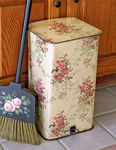 (Victorian Trading Co. Roses Lidded Waste Bin Trash Can)