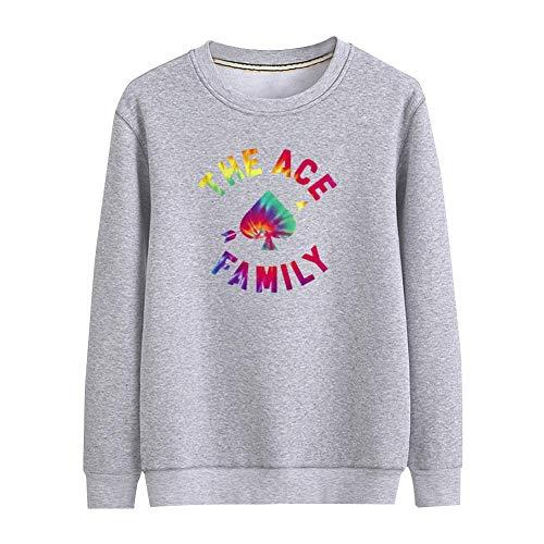 - Julongcul Tie Dye Heart Arrow Ace Family Unisex Thin Crewneck Sweatshirt Without Fleece S Gray