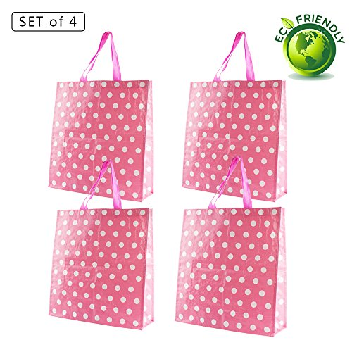 Wuoji Reusable Tote Grocery Bags - Supermarket Shopping Bags Medium Storage tote bags with handle Non-Woven Fold Flat Waterproof Wipe Clean(4, Q-Polka (Reusable Recyclable Tote Bag)