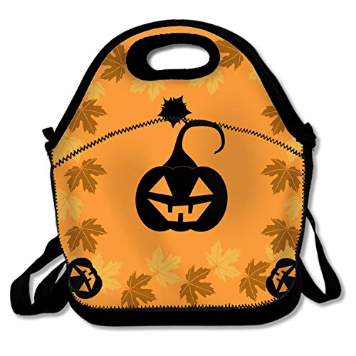 shunshunfeng Insulated Lunch Box Lunch Bag for Adults Men/Women Water-Resistant Leakproof Cooler Bento Bag-Black Halloween Pumpkin -