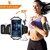 Running Armband, Bovon Sports Phone armband for Screen 4''-6'' iPhone X/8 Plus/8/7/6/6s+, Galaxy S9/S9 Plus/S8/S7 180° Rotatable Workout Armband with Key Holder for Hiking Biking Jogging (black)
