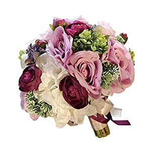 USIX Handmade Natural Looking Artificial Purple Lavender Rose Peony Flowers Classic Picture-Perfect Wedding Bridal Holding Bouquet Bridesmaid Bouquet Throw Bouquet Wedding Flower Arrangements 63