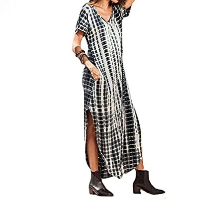 Maxi Dresses for Women Plus Size, Women's Casual Summer Loose Pocket Floral Print Long Dress Short Sleeve Split Maxi Dresses at  Women's Clothing store