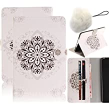 Samsung Galaxy Tab 4 7.0 inch SM-T230 T231 Wallet Case,Vandot PU Leather Slim Fit Smart Case Colorful Painting Pattern Auto Wake/Sleep Magnetic Flip Stand Shockproof Cover+Fashion Pompon Ball-Mandala Flower White