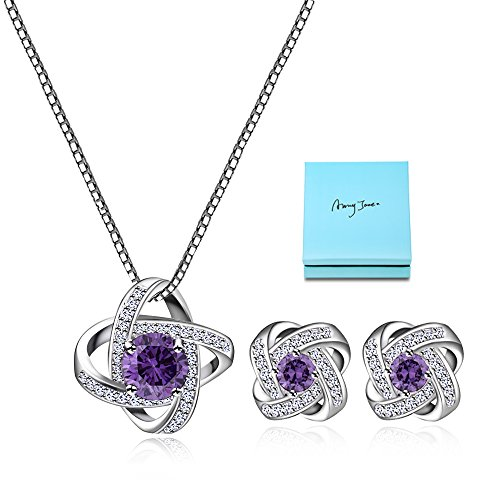 AMYJANE Bridal Jewelry Set for Women - Silver Plated Amethyst Purple Floral Crystal Cubic Zirconia Love Knot Necklace Earrings Set for Wedding Party Prom Fashion Jewelry Gift