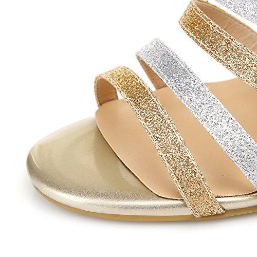 AllhqFashion Women's Soft Material Open Toe Spikes Stilettos Zipper Assorted Colors Sandals Gold iBUkJQwFqA
