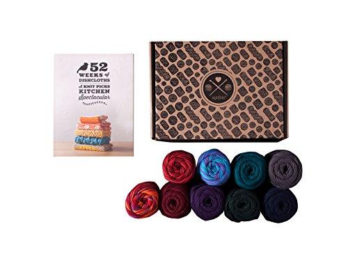 Knit Yarn Pattern - Knit Picks Dishie 100% Cotton Worsted Weight Yarn - 9 Ball Pack with Pattern Book (Jewel)
