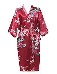 J.ROBE Women's Printing Lotus Kimono Robe Nightwear Short Style Bathrobe