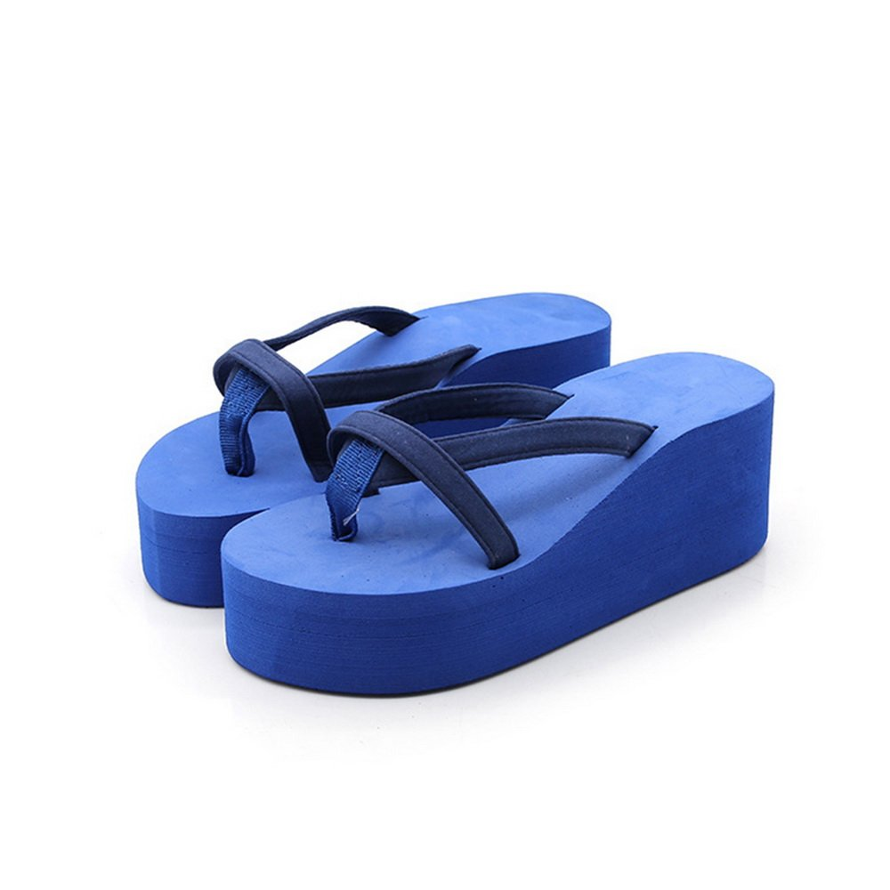 Dihope Damen Mode Flip-Flops Elegant Hausschuhe Zehentrenner Mauml;dchen Schuhe Sommer Sandalen Strand Schuhe Hoher Absatz  40|Blau