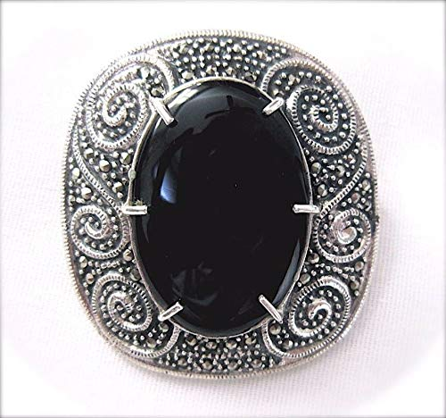 Large Onyx Stone PIN Brooch Ornate Vintage Design Marcasite 925 Sterling Silver ВК-168